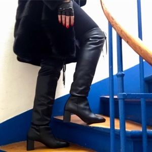 Zara Leather Slouchy High Heeled Boots Drawstring